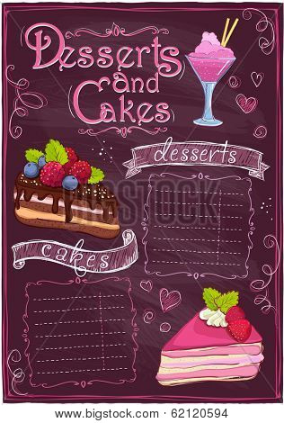 Chalkboard desserts and cakes menu with place for text. Eps10