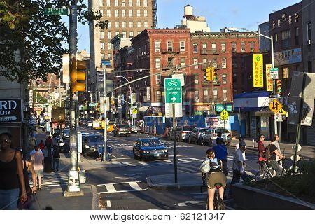 Sunset In Allen Street  In New York City. The Street's Name