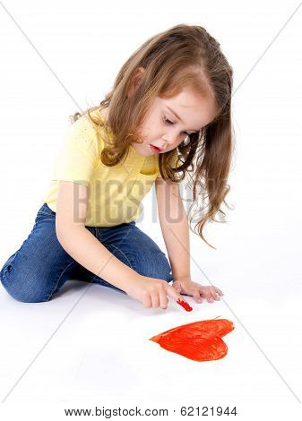 Artistic Sweet Little Girl Painting With Finger A Red Heart