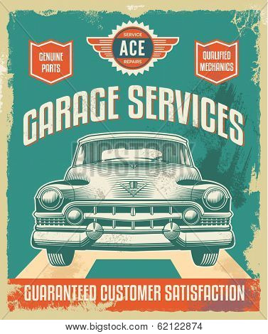 Vintage metal sign - Garage Services - Vector Design with removable grunge texture effect