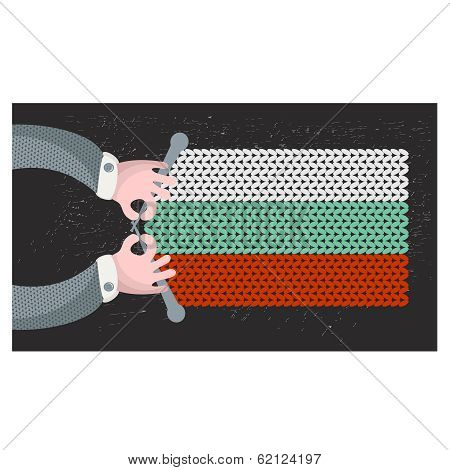 Hand made flag of Bulgaria.