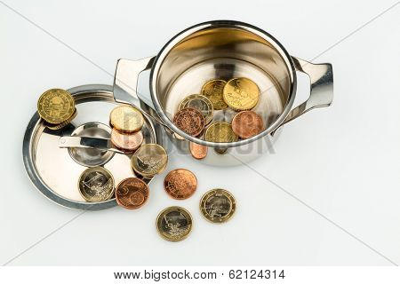 a cooking pot with a few euro coins