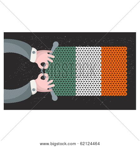 Hand made flag of Ireland.
