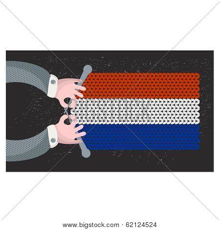 Hand made flag of Holland.