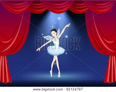 Illustration of a stage with a ballerina dancer