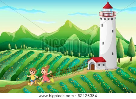 Illustration of the kids playing at the farm