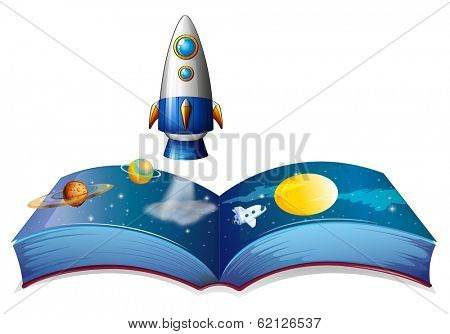 Illustration of a book showing the planet and airships on a white background