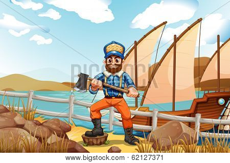 Illustration of a lumberjack at the riverbank with a ship