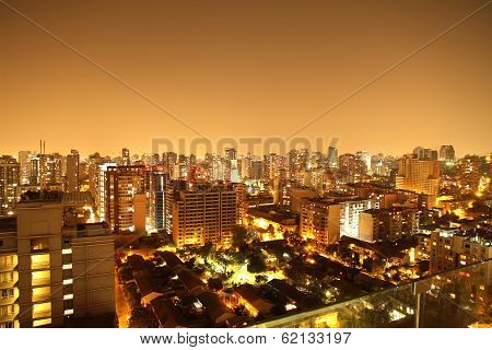 Nightly Panorama Of Santiago De Chile