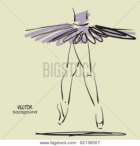 art sketched legs of beautiful young ballerina in the ballet pose