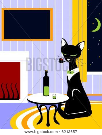 cat with tube and wine