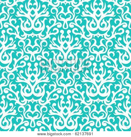 Damask pattern in white on turquoise