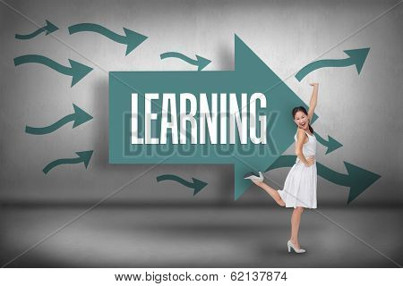 The word learning and happy and classy brunette posing against arrows pointing
