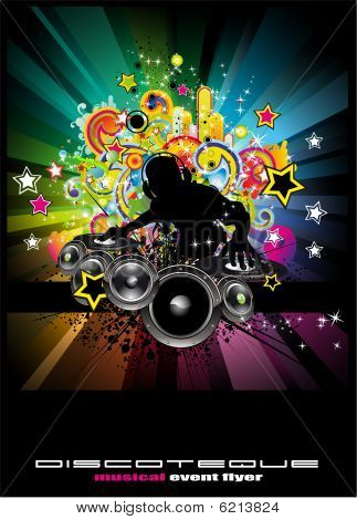 Music Event Background For Discoteque Flyers