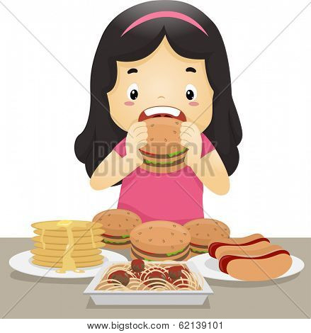Illustration of a Little Girl Going on an Eating Binge