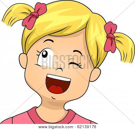 Illustration of a Little Girl Winking While Doing a Sideways Upward Glance