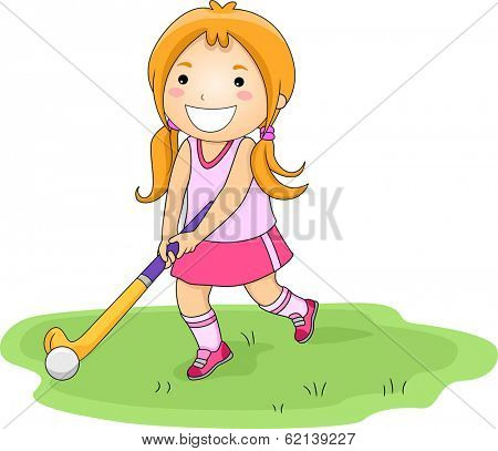 Illustration of a Little Girl Playing Field Hockey