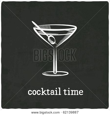 cocktail black old background