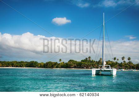 Catamaran Sailing Boat near Saona, Carribean Sea