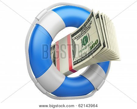 Life Buoy With Dollars.