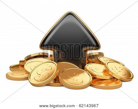 Black arrow upward and golden coins, business concept