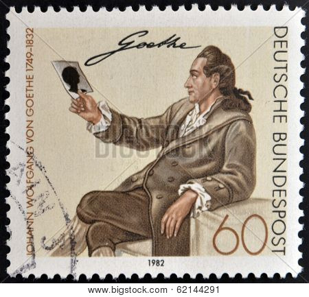 GERMANY - CIRCA 1982: a stamp printed in Germany shows Johann Wolfgang von Goethe