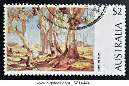 AUSTRALIA - CIRCA 1974: a stamp printed in Australia shows Red Gums of the Far North Painting