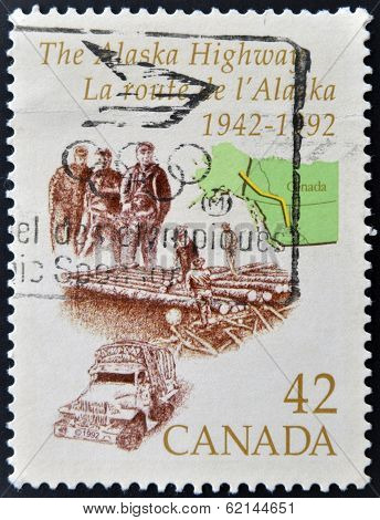 CANADA - CIRCA 1992: stamp printed in Canada shows Alaska Highway circa 1992