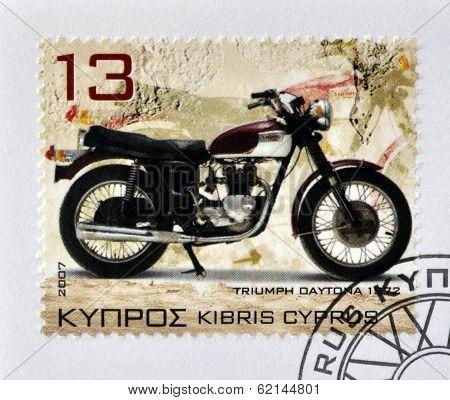 CYPRUS - CIRCA 2007: A stamp printed in Cyprus shows a motorbike Triumph Daytona 1972 circa 2007