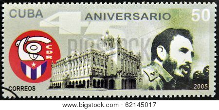 CUBA - CIRCA 2005: Stamp printed in Cuba dedicated to defense committees of the Revolution