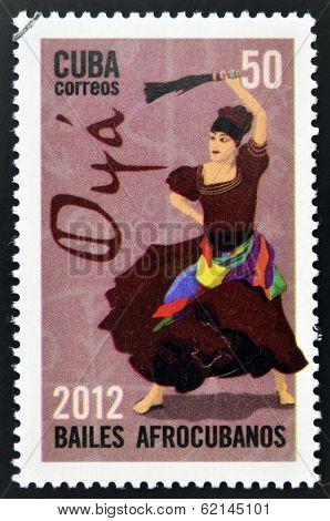 CUBA - CIRCA 2012: Stamp printed in Cuba dedicated to Afro-Cuban dance and Yoruba gods shows Oya