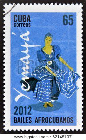 CUBA - CIRCA 2012: Stamp printed in Cuba dedicated to Afro-Cuban dance and Yoruba gods shows Yemaya