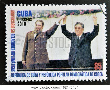 CUBA - CIRCA 2010: A stamp printed in cuba shows Fidel Castro and Kim Jong-Il circa 2010