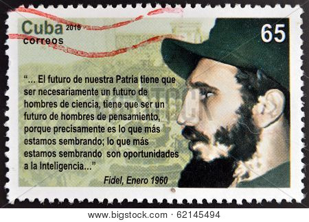 CUBA - CIRCA 2010: a postage stamp printed in Cuba showing an image of Fidel Castro circa 2010.