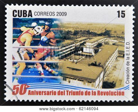 stamp 50 anniversary of the triumph of the revolution shows creation of school sport
