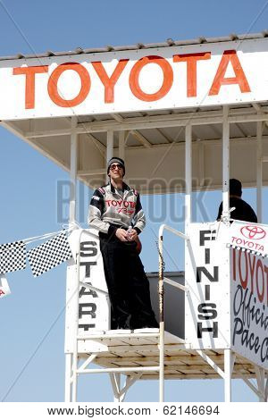 LOS ANGELES - MAR 15:  Adrien Brody at the Toyota Grand Prix of Long Beach Pro-Celebrity Race Training at Willow Springs International Speedway on March 15, 2014 in Rosamond, CA