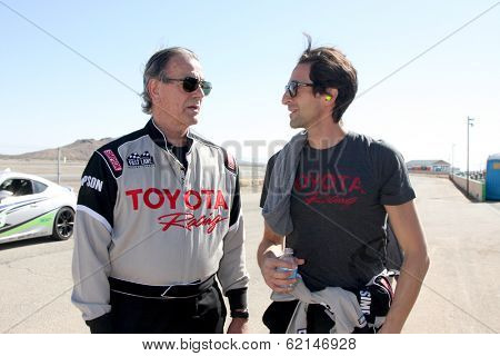 LOS ANGELES - MAR 15:  Eric Braeden, Adrien Brody at the Toyota Grand Prix of Long Beach Pro-Celebrity Race Training at Willow Springs International Speedway on March 15, 2014 in Rosamond, CA