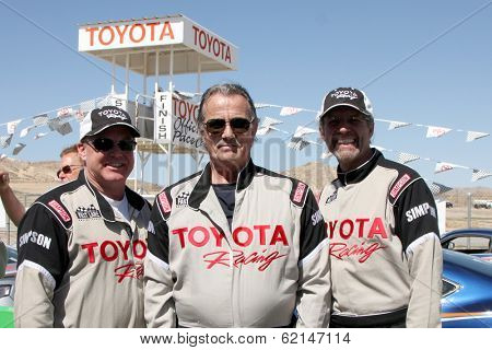 LOS ANGELES - MAR 15:  Al Unser Jr, Eric Braeden, Kyle Petty at the Toyota Grand Prix of LB Pro-Celebrity Race Training at Willow Springs Speedway on March 15, 2014 in Rosamond, CA