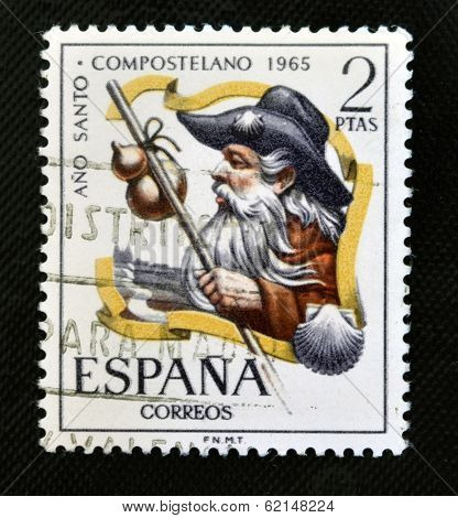 stamp printed in Spain shows Pilgrim Año Santo Compostela