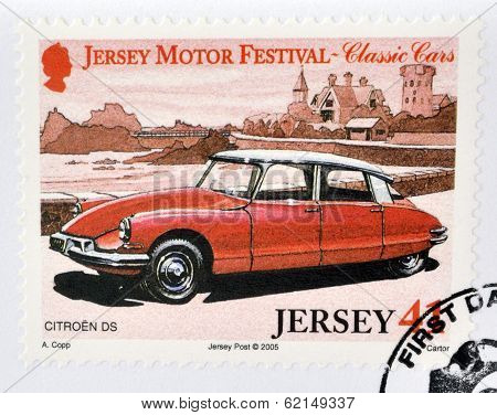 Stamp printed in Jersey dedicated to classic cars shows Citroen DS