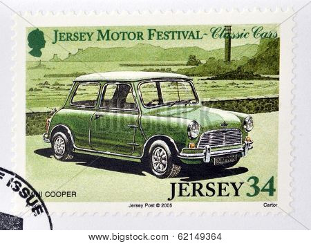 Stamp printed in Jersey dedicated to classic cars shows Mini Cooper