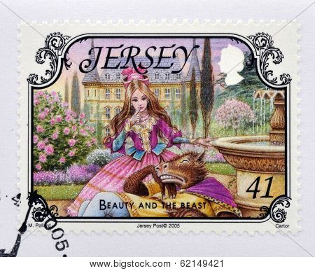 A stamp printed in Jersey shows Beauty and the Beast