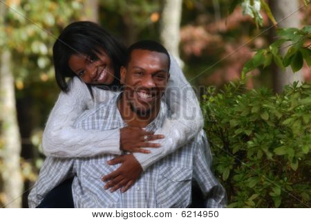 African-american Couple Enjoying Eachother