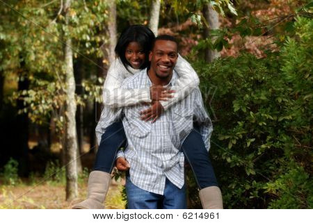 African-american Couple Bonding Outside