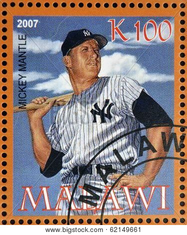 stamp printed in Malawi dedicated to greatest baseball players shows Mickey Mantle