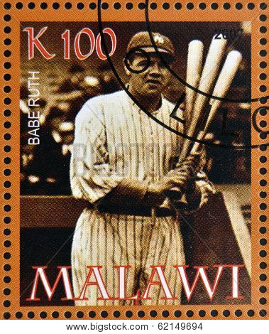 stamp printed in Malawi dedicated to greatest baseball players shows Babe Ruth