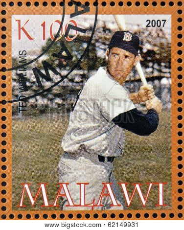 A stamp printed in Malawi dedicated to greatest baseball players shows Ted Williams
