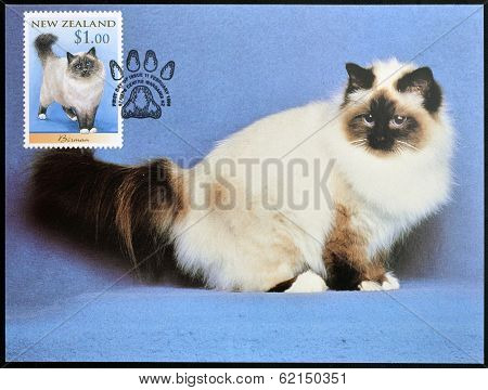 stamp printed in New Zealand shows Domestic Cat Birman