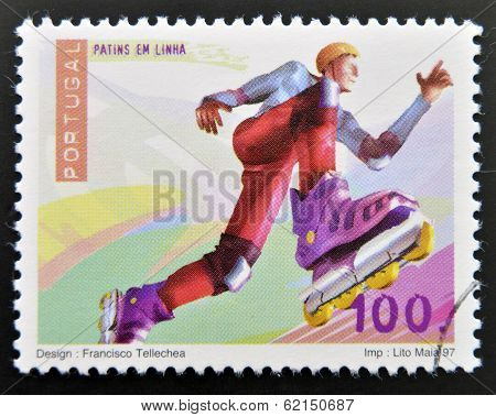 A stamp printed in Portugal dedicated to extreme sports shows Inline Skating