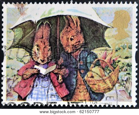 stamp shows Peter Rabbot and Mrs Rabbit (The Tale of Peter Rabbit)